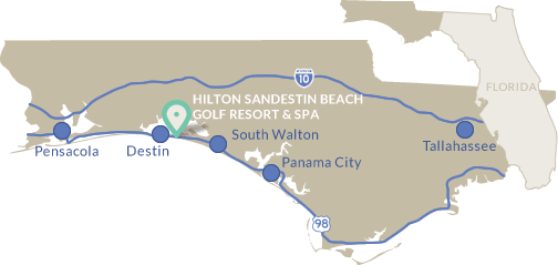 Distances In Miles From The Hilton Sandestin Beach Resort To Regional Airports Panhandle Of Northwest Florida