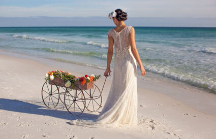 bride on the beach at Hilton Sandestin Beach